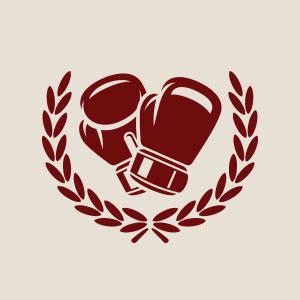 Boxer boxing gloves winning logo vector