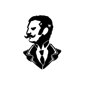man, gentleman, suit, drawing, silhouette, her, mustache, beard, tie,