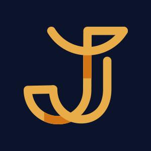 Letter J geometric line logo vector