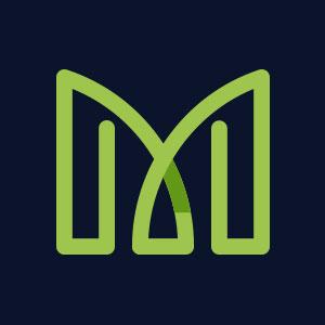 Letter M geometric line logo vector
