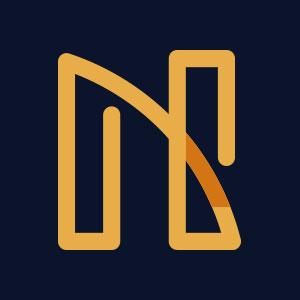 Letter N geometric line logo vector