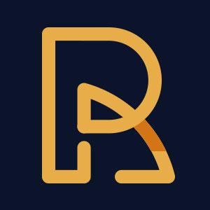 Letter R geometric line logo vector