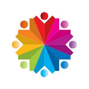 abstract people circle umbrella logo vector